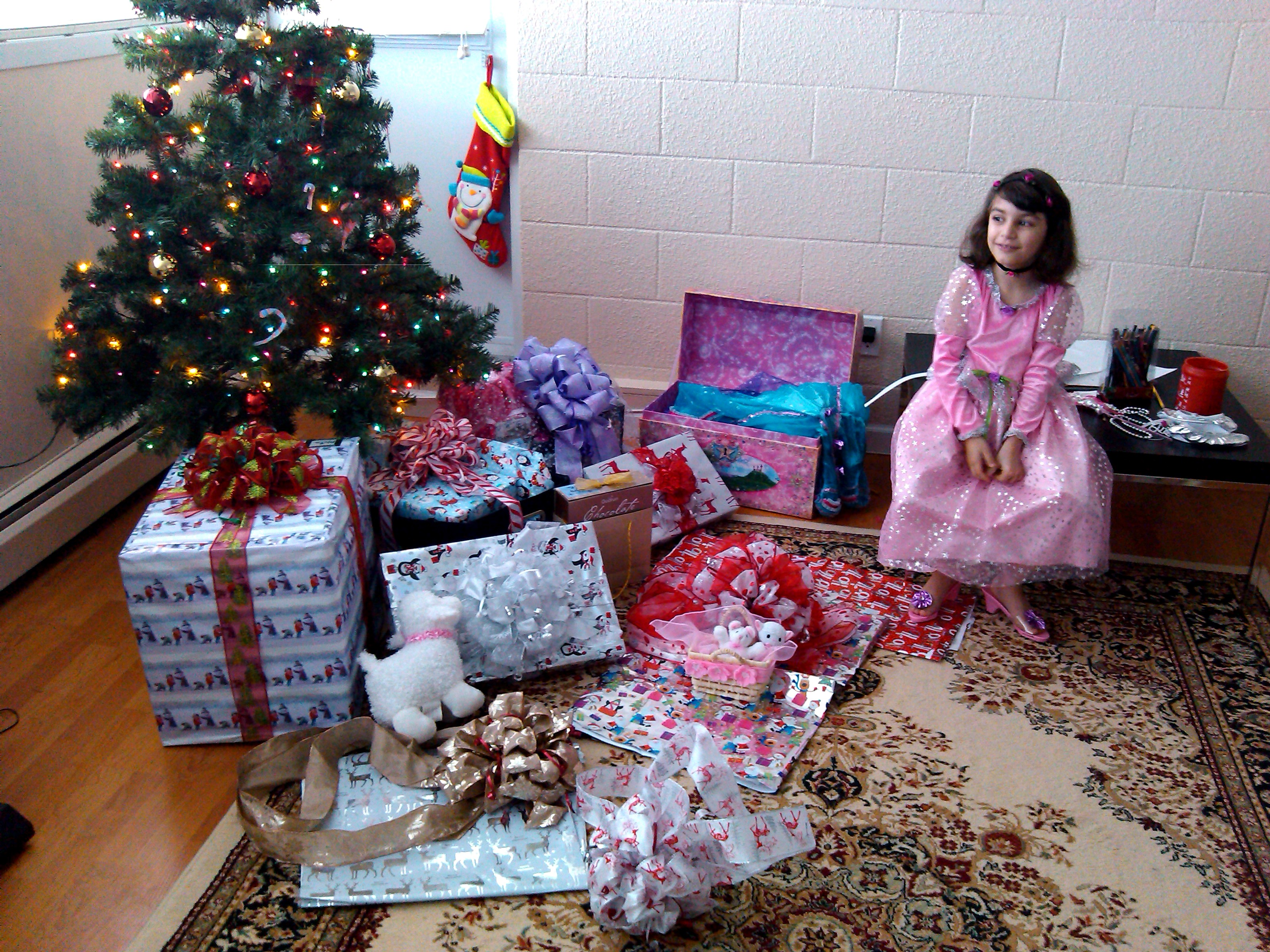 Elana with her presents