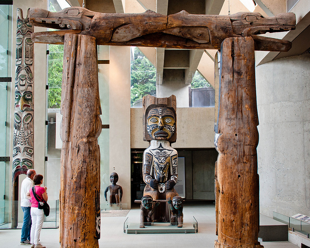 House frames from First Nation buildings on display in the Great Hall of the Museum of Anthropology at the University of British Columbia in Vancouver. Photo by Peter Lee.