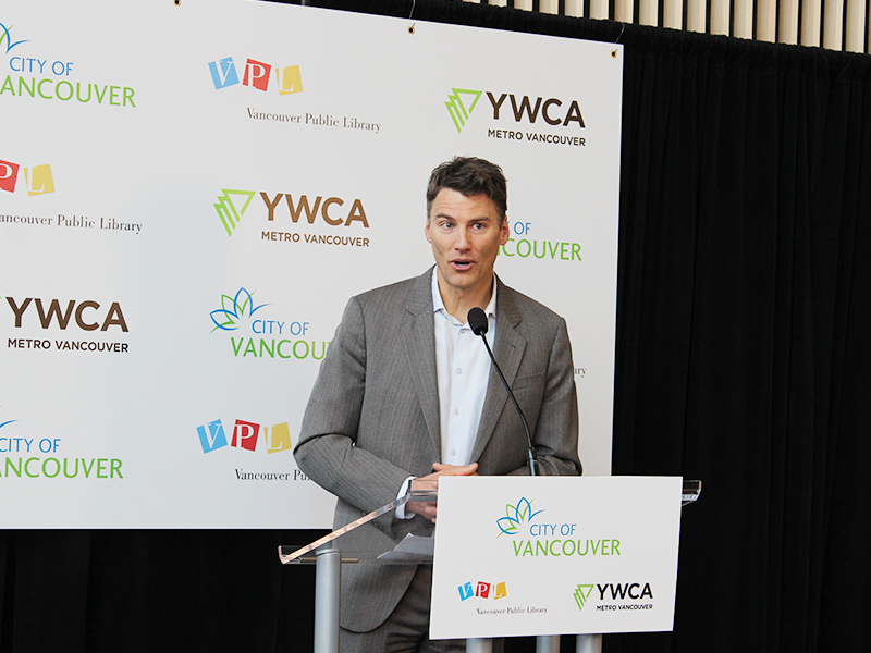 Mayor Gregor Robertson at VPL YWCA Cause We Care House Grand Opening