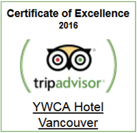 YWCA Hotel Vancouver TripAdvisor Certificate of Excellence 2016